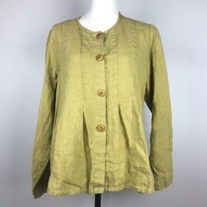 Flax Womens Top Size Small Button Down Crew Neck